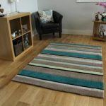 Beige & Teal Striped Contemporary Rug Atlanta Large