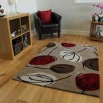 Brown & Red Leaf Print Modern Rug Atlanta Medium