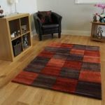Orange & Brown Squared Modern Rug Banbury Large