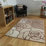 Beige Rose Wool Rug Banbury Medium