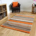 Beige & Orange Striped Modern Rug Atlanta Small