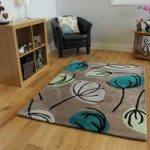 Contemporary Teal Floral Modern Rug Atlanta Large