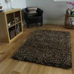 Brown Wool Shaggy Rug Moscow Medium