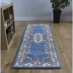 Blue Traditional Wool Hall Runner Rug Imperial 67×210