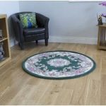 Bottle Green 100% Wool Traditional Carved Rug – Imperial 120 Circle