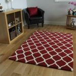 Red Modern Trelis Wool Rugs – Athena – 160 x 230cm (5ft 3 x 7ft 6 )