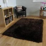 Chocolate Brown Thick Shaggy Rug – Glamour 120cm x 170cm (3'11 x 5'7 )