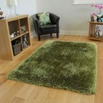Sage Green Thick Shaggy Rug – Glamour 120cm x 170cm (3'11 x 5'7 )