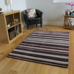 Purple Modern Striped Wool Rug – Toscana – 60 x 230cm (1ft 11 x 7ft 6