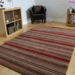 Brown & Red Modern Striped Wool Rug – Toscana – 120x170cm (4ft x 5 ft6