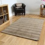 Contemporary Brown Striped Wool Rug – Toscana – 80x150cm (2ft 6 x 5ft)