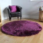 Aubergine High Shine Long Pile Thick Area Rug- Memphis 135 Circle