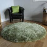 Bright Green Glossy Thick Shag Pile Rug- Memphis 180 Circle