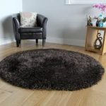 Dark Brown Soft Long Pile Rugs- Memphis 180 Circle