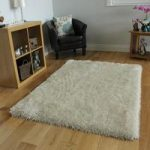 Off White Shimmer Effect Shaggy Rug- Memphis 80×110