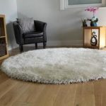 Luxurious Off White Shimmer Effect Shaggy Rug- Memphis 135 Circle