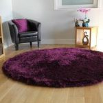 Deep Purple Fine Strand Shaggy Rug- Memphis 135 Circle