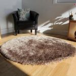 High Quality Beige Thin Strand Soft Shaggy Rug- Memphis 180 Circle