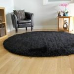 Luxury Black Shimmer Quality Shag Rug – Memphis 180 Circle