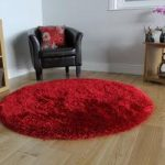 Rich Red High Quality Soft Shaggy Rug- Memphis 135 Circle
