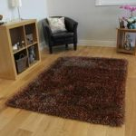 Warm Brown & Copper Thin Strand Soft Shaggy Rug- Memphis 200×290