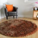 Warm Brown & Copper Thin Strand Soft Shaggy Rug- Memphis 180 Circle