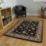 Deluxe Black & Navy Border Traditional Vintage Style Rug 100% Wool –
