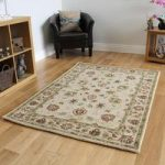 Cheap 100% Wool Beige Shabby Chic Floral Rugs – Ascot FF 160×220