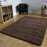Extra Soft Large Border Design Brown Wool Rug Elements 60x100cm