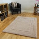 Natural Beige Luxurious Soft Non Shed Wool Rug Elements 110x160cm
