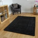 Luxurious Non Shed Elegant Soft Black 100% Wool Rug Elements 110x160cm