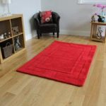 Stylish Vibrant Red Border Design Soft Wool Rug Elements 110x160cm