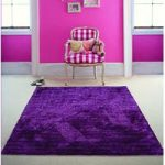 Purple Shiny Stripe 100% Polyester Rug – Juno 80×150