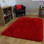 Luxury Bold Red Super Soft Modern Fluffy Mats – Deluxe Red FF 120×170