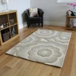 Beige 100% Wool 3D Carved Floral Rug – Essence 120×180