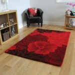 Rich Red Carved Floral Design Quality Wool Rug – Essence 90×150