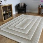 Beige Modern Hand Carved Wool Rug – Essence – 160 x 230cm (5ft 3 x 7ft
