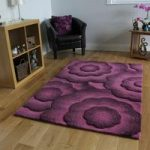 Deep Plum Thick Hand Carved 100% Wool Rug- Essence 90×150