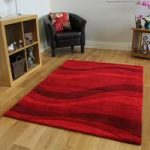 Burgundy Red Curved Striped Luxury Soft Acrylic Rug Bilbao 80x150cm