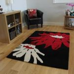 Modern Black & Red Flower Print Non Shed Acrylic Rug Bilbao 80x150cm