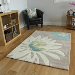 Stylish Teal & Beige Flower Print Soft Acrylic Area Rug Bilbao