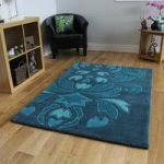 Teal Damask Design Thick Super Soft Acrylic Rug Bilbao 160x220cm