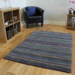 Modern Hand Tufted Luxurious Green & Purple Lined Wool Rug Cavoni