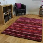 High End Dense Pile Red Wine Striped Soft Wool Rug Cavoni 80x150cm