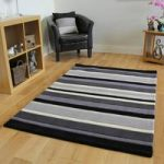 Kingston Black Charcoal Grey Handmade Striped Wool Rug – 90x150cm