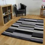 Kingston Black, Charcoal & Grey Modern Thick Wool Rugs – 160x230cm