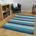 Kingston Blue Cream Heavy Quality Thick Wool Rugs – 90x150cm