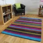 Kingston Colourful Pink Purple Green Stripe Wool Rug – 120x170cm