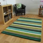 Kingston Green & Chocolate Brown Stripe Thick Wool Rug – 90x150cm