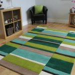 Kingston Green, Brown & Cream Handmade Thick Wool Rugs – 90x150cm